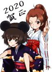 2020 2girls alternate_hairstyle animal_ears bangs blue_kimono brown_eyes brown_hair carrying chinese_zodiac commentary eyebrows_visible_through_hair fake_animal_ears girls_und_panzer grin hair_tie hair_up hakama hakama_skirt happy_new_year japanese_clothes kadotani_anzu kayabakoro kimono long_hair long_sleeves looking_at_viewer mauko_(girls_und_panzer) miko mouse_ears multiple_girls new_year obi one_eye_closed open_mouth piggyback ponytail print_kimono red_hakama ribbon-trimmed_sleeves ribbon_trim sash short_hair simple_background sketch smile standing sweatdrop translated v white_background white_kimono wide_sleeves year_of_the_rat