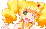 1girl ;d bangs bare_shoulders blonde_hair blush choker collarbone cure_sparkle earrings eyebrows_visible_through_hair gloves green_eyes hair_ornament healin'_good_precure heart heart_hair_ornament jewelry kyoutsuugengo long_hair one_eye_closed open_mouth portrait precure shiny shiny_hair smile solo twintails white_gloves yellow_choker