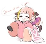 1girl ahoge alternate_costume alternate_hairstyle artist_name asacoco bangs barefoot blanket blonde_hair blunt_bangs child closed_eyes dragon_girl dragon_horns english_commentary english_text fake_tail fang full_body holding hololive hood hoodie horns isuka kiryuu_coco long_sleeves multicolored_hair orange_hair pink_hoodie pointy_ears short_hair signature simple_background skin_fang smile solo speech_bubble standing stuffed_toy tail virtual_youtuber white_background younger