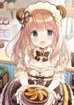 1girl animal_ears bear_ears blue_eyes blush bottle bow breasts brown_bow brown_hair brown_skirt commentary_request diagonal_stripes flower food frilled_skirt frills hair_flower hair_ornament highres holding holding_plate indoors kimishima_ao ladle long_hair looking_at_viewer momoi_saki open_mouth original plant plate potted_plant shelf shirt short_sleeves skirt small_breasts solo striped striped_bow whisk white_flower white_shirt