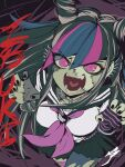 1girl aetherion bangs black_hair black_skirt blue_hair breasts character_name claw_pose commentary commission danganronpa_(series) danganronpa_2:_goodbye_despair ear_piercing fangs from_above hair_horns hands_up highres jewelry lip_piercing long_hair looking_at_viewer medium_breasts mioda_ibuki mismatched_legwear multicolored_hair neckerchief necklace open_mouth piercing pink_eyes pink_hair pleated_skirt sailor_collar scar school_uniform serafuku skirt smile solo stitches teeth thigh-highs tongue torn_clothes torn_legwear white_hair zombie zombie_land_saga