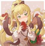 1girl basket blonde_hair blush bow candy chocolate chocolate_heart corn food granblue_fantasy green_eyes harvin heart hinami_(hinatamizu) jewelry long_hair melissabelle pendant pointy_ears ponytail shawl smile sparkle_background valentine very_long_hair