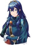 1girl ameno_(a_meno0) blue_eyes blue_hair elbow_gloves fingerless_gloves fire_emblem fire_emblem_awakening gloves hair_between_eyes long_hair looking_at_viewer lucina_(fire_emblem) scarf simple_background smile solo symbol-shaped_pupils tiara white_background
