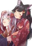 2girls :d ^_^ absurdres animal_ear_fluff animal_ears black_hair blush closed_eyes floral_print flower hair_flower hair_ornament hand_on_another's_head highres hilamaru hololive horns hug hug_from_behind japanese_clothes kanzashi kimono multicolored_hair multiple_girls nakiri_ayame oni oni_horns ookami_mio open_mouth print_kimono red_kimono silver_hair simple_background smile streaked_hair upper_body white_background wolf_ears wolf_girl |d