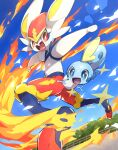bright_pupils cinderace commentary_request day fang fence fire gen_8_pokemon highres looking_at_another makoto_ikemu no_humans open_mouth outdoors pokemon pokemon_(creature) red_eyes signature sky smile sobble starter_pokemon tongue