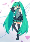 1girl absurdres bare_shoulders black_footwear black_legwear black_skirt boots closed_mouth detached_sleeves full_body green_eyes green_hair green_neckwear grey_shirt hand_up hatsune_miku headphones headset highres kotatsu_(g-rough) long_hair long_sleeves looking_at_viewer microphone miniskirt necktie number_tattoo pleated_skirt shirt shoulder_tattoo skirt sleeveless sleeveless_shirt smile solo tattoo thigh-highs thigh_boots twintails very_long_hair vocaloid wide_sleeves zettai_ryouiki