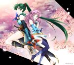 2girls blue_eyes closed_mouth dual_wielding elbow_gloves fingerless_gloves fire_emblem fire_emblem:_the_blazing_blade fire_emblem_heroes florina_(fire_emblem) from_side gloves green_eyes green_hair highres holding holding_weapon japanese_clothes long_hair lyn_(fire_emblem) multiple_girls ninja open_mouth petals ponytail purple_hair scabbard sheath sheathed shirokuroma_29 shuriken sword thigh-highs twitter_username weapon