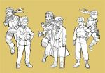 4boys age_comparison bandana beard beret big_boss bodysuit boots breast_pocket cigar crutch expressionless eyepatch facial_hair fingerless_gloves gloves gun hand_on_hip hat holding holding_gun holding_weapon kazuhira_miller male_focus metal_gear_(series) metal_gear_solid metal_gear_solid_peace_walker metal_gear_solid_v monochrome multiple_boys multiple_persona muscular muscular_male necktie partially_fingerless_gloves pocket ponytail scar scar_across_eye short_hair sleeveless sleeves_rolled_up smile sodayabp solid_snake standing sunglasses tank_top venom_snake weapon yellow_background