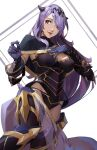 1girl absurdres bangs boots breasts camilla_(fire_emblem) capelet detached_sleeves fire_emblem fire_emblem_heroes gloves hair_ornament hair_over_one_eye hand_on_own_chest highres kuno_(runkunochan) large_breasts looking_to_the_side purple_hair thigh-highs thigh_boots tiara upper_body violet_eyes