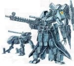 gun highres holding holding_gun holding_weapon mecha no_humans open_hand original rocket_launcher ryu_suio_shou science_fiction standing traditional_media turret weapon white_background