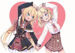2girls :d akai_haato blonde_hair blue_eyes blush grey_background hair_ornament hair_ribbon heart heart_arms_duo heart_background holding_hands hololive hololive_english long_hair long_sleeves looking_at_another monocle_hair_ornament multiple_girls necktie open_mouth pocket_watch red_neckwear renpc ribbon short_hair smile twitter_username virtual_youtuber watch watson_amelia