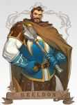 1boy armor beard belt blue_gloves breastplate brooch brown_hair cape character_name cleric dungeons_&_dragons:_shadow_over_mystara dungeons_and_dragons english_commentary facial_hair faulds gloves greldon hand_on_belt highres holding holding_weapon jewelry leather_armor mace male_focus morry muscular muscular_male short_hair solo studded weapon