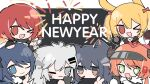 >_o +_+ 6+girls ;) ;d aerial_fireworks animal_ears arknights black_background black_hair black_jacket blonde_hair blush_stickers bow brown_eyes brown_gloves brown_hair cellphone chibi closed_mouth croissant_(arknights) exusiai_(arknights) fireworks food food_in_mouth gloves green_eyes grey_eyes grey_hair hair_bow halo happy_new_year highres holding holding_phone jacket lappland_(arknights) long_sleeves mostima_(arknights) mouth_hold multiple_girls new_year one_eye_closed open_mouth phone pink_bow pocky rabbit_ears shirt smile sora_(arknights) texas_(arknights) twintails two-tone_background v white_background white_jacket white_shirt wide_sleeves xijian