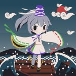 1girl black_footwear blue_headwear blue_neckwear blue_ribbon boat chibi clouds cobalta detached_sleeves green_ribbon hat japanese_clothes kariginu medium_hair mononobe_no_futo neck_ribbon ocean pom_pom_(clothes) ponytail purple_skirt ribbon ribbon-trimmed_sleeves ribbon_trim silver_hair skirt sleeves_past_fingers sleeves_past_wrists smile tate_eboshi touhou watercraft waves whorled_clouds wide_sleeves