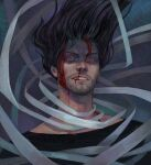 1boy aizawa_shouta artist_name bandages black_hair black_shirt blackwood_(shanblackwood) blood blood_on_face boku_no_hero_academia commentary dated facial_hair floating hair_up highres injury long_hair looking_at_viewer male_focus messy_hair nosebleed realistic red_eyes scarf shirt solo stubble teeth upper_body