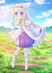 1girl :t bangs blue_sky boots bow capelet closed_mouth clouds cloudy_sky commentary day dress emilia_(re:zero) eyebrows_visible_through_hair flower frilled_dress frills green_bow hair_flower hair_ornament hairband highres long_hair long_sleeves looking_at_viewer outdoors pointy_ears pout purple_dress purple_hairband re:zero_kara_hajimeru_isekai_seikatsu silver_hair skirt_hold sky solo standing symbol_commentary very_long_hair villyane violet_eyes white_capelet white_dress white_flower white_footwear wide_sleeves