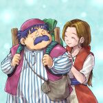 1boy 1girl backpack bag blue_background blue_shirt blush brown_hair chinyan closed_eyes commentary_request dragon_quest dragon_quest_iv dress earrings facial_hair hetero highres husband_and_wife jewelry long_hair low_ponytail mustache purple_hair purple_vest red_dress shirt shoulder_bag smile striped striped_shirt tessie torneko two-tone_dress vertical-striped_shirt vertical_stripes vest white_dress white_shirt