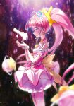 1girl bangs blunt_bangs blush choker cure_star dress eyebrows_visible_through_hair floating_hair from_side highres kyoutsuugengo layered_dress long_hair open_mouth pink_choker pink_hair precure profile scrunchie shiny shiny_hair short_dress sleeveless sleeveless_dress solo standing star_twinkle_precure twintails very_long_hair white_scrunchie wrist_scrunchie