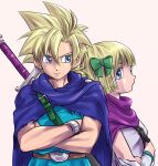 1boy 1girl blonde_hair blue_cape blue_eyes bow bracelet brother_and_sister cape chinyan commentary_request crossed_arms dragon_quest dragon_quest_v gloves green_bow hair_bow hero's_daughter_(dq5) hero's_son_(dq5) jewelry looking_at_another looking_to_the_side purple_cape shirt short_hair siblings spiky_hair sword upper_body weapon white_gloves white_shirt