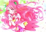 1girl blush choker collarbone cure_grace dress earrings floating_hair flower gloves hair_flower hair_ornament hands_clasped healin'_good_precure highres interlocked_fingers jewelry kyoutsuugengo layered_dress long_hair own_hands_together petals pink_choker pink_dress pink_eyes pink_hair precure shiny shiny_hair short_sleeves solo standing tied_hair very_long_hair white_gloves yellow_flower