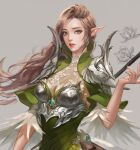 1girl armor boobplate breastplate brown_hair cropped elf feather_trim flower green_eyes grey_background long_hair original parted_lips pauldrons pointy_ears red_lips shoulder_armor sketch solo srasa