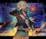 1boy amuro_tooru arm_at_side bangs belt black_belt black_jacket blonde_hair blue_eyes blue_pants building cardigan casual clouds commentary_request cowboy_shot embers english_text fire grin gun hair_between_eyes hand_up handgun holding holding_gun holding_weapon jacket letterboxed long_sleeves looking_at_viewer m/g male_focus meitantei_conan night night_sky open_clothes open_jacket outdoors pants railing short_hair signature sky skyscraper smile solo standing weapon white_cardigan