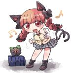 1girl :3 alternate_costume animal_ears arms_up artist_name bag bangs beamed_eighth_notes black_legwear blunt_bangs blush bow bowtie braid breasts brown_footwear cat_ears cat_tail chibi clenched_hands commentary dancing eighth_note extra_ears eyebrows_visible_through_hair fang floating_clothes floating_hair hair_bow hair_ribbon kaenbyou_rin leaning_forward loafers long_sleeves looking_at_viewer miniskirt motion_lines multiple_tails musical_note open_mouth plaid plaid_skirt red_eyes red_neckwear redhead reiuji_utsuho reiuji_utsuho_(bird) ribbon rokugou_daisuke school_bag school_uniform shadow shirt shoes short_hair simple_background skirt solo standing sweater_vest tail third_eye touhou tress_ribbon twin_braids white_background white_shirt