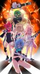 5girls :3 absurdres animal_ears assault_rifle blue_archive explosion fox_ears gatling_gun gun halo heterochromia hifumi_(blue_archive) highres hoshino_(blue_archive) kuma_(jk0073) long_hair looking_at_viewer mask multiple_girls nonomi_(blue_archive) open_mouth rifle school_swimsuit serika_(blue_archive) shiroko_(blue_archive) shotgun sweat sweatdrop sweating_profusely swimsuit twintails weapon