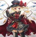 1girl aiguillette alternate_costume bangs black_capelet black_dress black_gloves black_headwear black_legwear blonde_hair bow breasts capelet commentary_request contrapposto cowboy_shot crystal dress eyebrows_visible_through_hair flandre_scarlet flat_cap foreshortening frills garter_straps gloves gold_trim gradient gradient_background grey_background grin hair_bow hand_on_headwear hat highres hisako_(6anmbblfnjueeff) looking_at_viewer military military_uniform nail_polish one_side_up reaching_out red_bow red_eyes red_nails short_hair simple_background single_glove small_breasts smile solo standing swept_bangs tassel thigh-highs touhou traditional_media uniform wings
