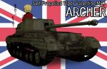 1girl archer_(tank) blonde_hair commentary_request darjeeling_(girls_und_panzer) girls_und_panzer ground_vehicle highres military military_vehicle motor_vehicle shirasagi-shi st._gloriana's_military_uniform tank tank_destroyer translation_request union_jack weapon