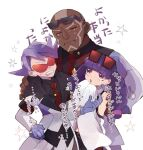 1girl 2boys bangs black_shirt blunt_bangs blush clenched_teeth closed_eyes closed_mouth coat commentary_request crying crying_with_eyes_open dark_skin dark_skinned_male eyewear_on_head gloves hand_on_another's_shoulder highres lear_(pokemon) long_hair multiple_boys necktie ohds101 open_mouth pants pokemon pokemon_(game) pokemon_masters_ex purple_hair rachel_(pokemon) red-tinted_eyewear red_neckwear sawyer_(pokemon_masters_ex) shirt star_(symbol) sunglasses tears teeth tongue translation_request white_coat white_pants