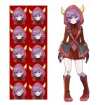1girl asatsuki_(fgfff) bangs boots closed_mouth commentary_request courtney_(pokemon) dress expression_chart expressionless fake_horns full_body gloves highres hood hood_up horns knees looking_at_viewer pokemon pokemon_(game) pokemon_oras purple_hair red_dress ribbed_dress shiny shiny_skin short_hair standing team_magma turtleneck_dress violet_eyes white_background