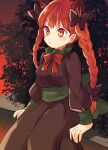 1girl :o animal_ears bangs bow bowtie braid breasts brown_dress cat_ears dress extra_ears eyebrows_visible_through_hair feet_out_of_frame gradient_sky green_sash hair_bow kaenbyou_rin long_hair looking_ahead medium_breasts outdoors parted_lips red_bow red_eyes red_neckwear redhead sash sitting sky solo tomobe_kinuko touhou twilight twin_braids twintails