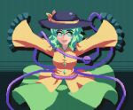 1girl ^_^ animated animated_gif bangs black_headwear closed_eyes cowboy_shot flapping frilled_sleeves frills green_background green_eyes green_hair hair_between_eyes hat hat_ribbon heart heart_of_string komeiji_koishi long_sleeves looking_at_viewer open_mouth pixel_art potemki11 ribbon shirt short_hair sleeves_past_fingers sleeves_past_wrists smile solo standing touhou wide_sleeves yellow_ribbon yellow_shirt