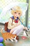 1girl animal artist_name backpack bag bangs blonde_hair blush bow brown_bag brown_footwear can canned_food cat chain-link_fence eyebrows_visible_through_hair fence flower fukuro_ko_(greentea) full_body genshin_impact hair_flower hair_ornament highres long_sleeves looking_at_viewer lumine open_mouth outdoors pleated_skirt purple_skirt rain red_bow school_uniform shoes short_hair signature skirt smile squatting thigh-highs transparent transparent_umbrella umbrella uniform white_legwear yellow_eyes