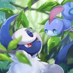 absol bright_pupils closed_mouth commentary_request eye_contact gen_3_pokemon gen_8_pokemon goma_(nabepa_nabepa) highres leaf looking_at_another no_humans pokemon pokemon_(creature) red_eyes sobble starter_pokemon translation_request
