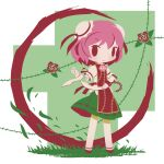 1girl amputee bandaged_arm bandages brown_footwear bun_cover chibi cobalta commentary_request cuffs double_bun eyebrows_visible_through_hair flower flower_ornament green_skirt ibaraki_kasen pink_hair plant rose shackles shirt short_hair skirt tabard thorns touhou vine_print vines white_shirt