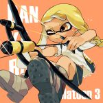 ;) aiming ankle_boots asymmetrical_hair beige_footwear black_shorts blonde_hair boots bow_(weapon) braid closed_mouth copyright_name domino_mask glint highres holding holding_bow_(weapon) holding_weapon hoshizora ink_tank_(splatoon) inkling long_hair mask one_eye_closed orange_background orange_eyes shirt shorts simple_background single_braid smile sparkle splatoon_(series) splatoon_3 t-shirt tentacle_hair torn_clothes torn_shirt weapon white_shirt