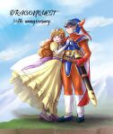 absurdres anniversary blue_armor blue_eyes blue_headwear blue_helmet blue_sky boots brown_hair cape chinyan clouds commentary_request copyright_name curly_hair day dragon_quest dragon_quest_i dress elbow_gloves gloves green_eyes hand_on_another's_shoulder helmet hero_(dq1) highres horned_helmet long_dress long_hair orange_pants outdoors princess_laura red_cape red_gloves scabbard sheath sky standing sword tiara weapon white_footwear white_gloves yellow_dress