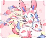 alternate_color blue_eyes blush closed_mouth commentary_request dated gen_6_pokemon heart highres looking_at_viewer looking_back no_humans paws petals pokemon pokemon_(creature) red_eyes shiny_pokemon smile surumeika_(ninfiiiir) sylveon toes