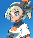 1girl bangs bea_(pokemon) black_hairband blue_background blurry bow_hairband closed_mouth collared_shirt commentary expressionless eyelashes grey_eyes grey_hair gym_leader hair_between_eyes hairband highres hyou_(hyouga617) pokemon pokemon_(game) pokemon_swsh print_shirt shirt short_hair short_sleeves simple_background solo tied_shirt upper_body