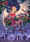 1girl :d absurdly_long_hair alternate_costume bishoujo_senshi_sailor_moon blonde_hair blue_eyes boots box capelet christmas christmas_wreath city_lights cityscape crescent_moon facial_mark feathered_wings forehead_mark full_body fur_trim gloves hair_ornament hairclip hat heart knee_boots long_hair luna_(sailor_moon) merry_christmas moon nezumipl night open_mouth red_capelet red_gloves red_legwear red_ribbon ribbon sailor_moon santa_costume santa_gloves santa_hat silhouette sitting smile solo star_(symbol) tsukino_usagi tuxedo_kamen twintails very_long_hair white_wings wings