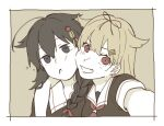 2girls arm_around_shoulder bangs blue_eyes border braid cheek-to-cheek fang hair_flaps hair_ornament kantai_collection long_hair looking_at_viewer multiple_girls open_mouth red_eyes red_neckwear sailor_collar saliva school_uniform self_shot serafuku shigure_(kancolle) short_sleeves simple_background single_braid sukekiyo_(skky_0) upper_body white_border yellow_background yuudachi_(kancolle)
