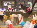 1girl 5boys alcohol angel_wings animal_print armor assassin_cross_(ragnarok_online) bangs black_cape black_cat black_shirt blonde_hair blue_hair bottle calendar_(object) cape cat closed_eyes closed_mouth coat commentary_request cross_scar cup defeat dress drinking_glass emoticon flame_print full_body fur-trimmed_cape fur_collar fur_trim gauntlets giving_up_the_ghost gloom_(expression) hair_between_eyes halo head_rest high_priest_(ragnarok_online) holding holding_ladle jewelry ladle leopard_print medium_hair multiple_boys musical_note necklace on_floor open_clothes open_mouth open_shirt pants pauldrons plate poison poporing poring purple_hair q_qree ragnarok_online red_dress scar shadow_chaser_(ragnarok_online) shirt shirtless short_hair shoulder_armor shura_(ragnarok_online) shy_(ragnarok_online) sitting slime_(creature) smile spill spiral_eyes spoken_musical_note standing stool teapot torn_clothes torn_sleeves waist_cape white_coat white_hair white_shirt whitesmith_(ragnarok_online) wildrose wine wine_glass wings yellow_pants