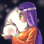 1girl ball brown_eyes chinyan circlet collarbone commentary_request crystal_ball dragon_quest dragon_quest_iv dress earrings highres holding holding_ball jewelry long_hair minea necklace orange_dress purple_hair single_sleeve solo