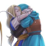 1boy 1girl armlet blonde_hair blue_headwear bracelet brother_and_sister chinyan circlet closed_eyes commentary_request dragon_quest dragon_quest_vi hug jewelry leather_armor long_hair low-tied_long_hair mireyu ribbon siblings silver_hair tears terry_(dq6)
