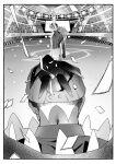 2boys absurdres arm_up audience baseball_cap border champion_uniform confetti earrings greyscale gym_leader hat highres hood hood_down hoodie jewelry leggings leon_(pokemon) light long_hair male_focus mameo_(kotsubuta) monitor monochrome multiple_boys pokemon pokemon_(game) pokemon_swsh pose raihan_(pokemon) shirt short_sleeves shorts stadium standing w white_border