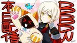 >_< 2girls :d ahoge animal_ears animal_hood armor artist_request blazblue blazblue_alternative:_dark_war blonde_hair bow bowtie capelet cat_ears cat_hood ciel_sulfur closed_eyes collared_shirt eyebrows_visible_through_hair gloves heart heart_print holding hood hoodie kaka_kittens looking_at_viewer multiple_girls official_art open_mouth pauldrons paw_pose paws red_capelet red_eyes red_neckwear shirt short_hair shoulder_armor smile third-party_source uniform xd yellow_eyes