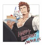 1boy 47 alternate_costume blue_eyes brown_hair cake facial_hair fate/grand_order fate_(series) food fou_(fate) goatee happy_birthday highres long_sideburns long_sleeves looking_at_viewer male_focus muscular muscular_male napoleon_bonaparte_(fate) official_alternate_costume open_clothes pants pectorals scar short_hair sideburns solo tight unbuttoned very_short_hair