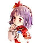 1girl blush commentary_request ginkgo_leaf hair_ornament hand_up highres leaf_hair_ornament long_sleeves mirror purple_hair red_eyes red_shirt shirt short_hair simple_background smile solo tatuhiro touhou upper_body white_background white_shirt yasaka_kanako younger